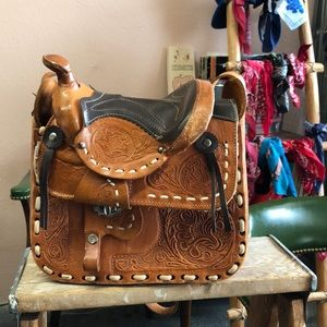 Vintage Mexican Saddle Handtooled Leather Purse